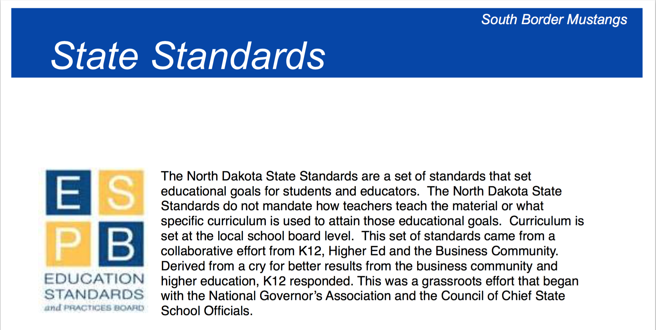 North Dakota State Standards
