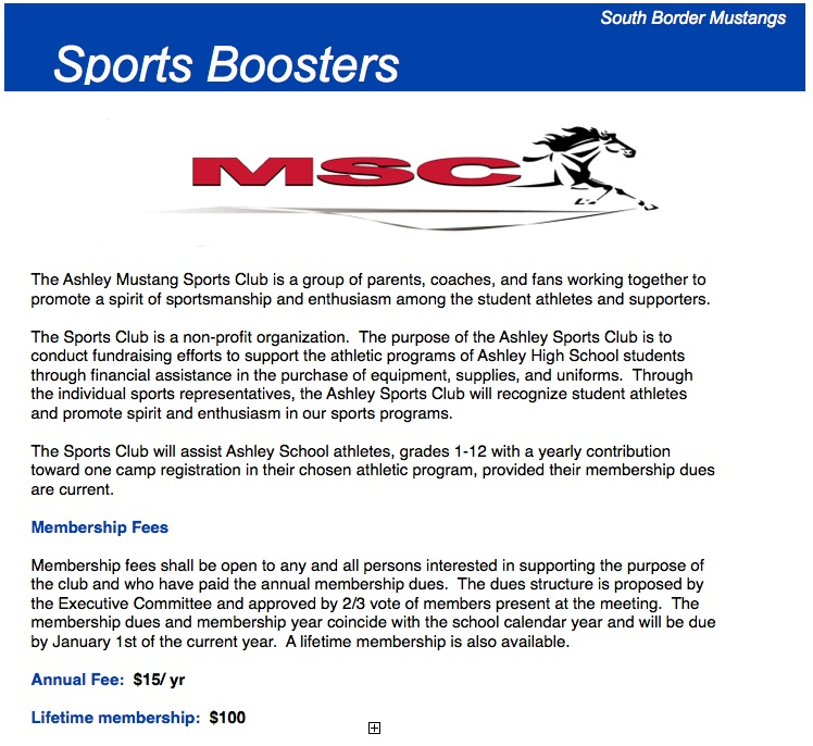 The Ashley Mustang Sports Club is a group of parents, coaches, and fans working together to promote a spirit of sportsmanship and enthusiasm among the student athletes and supporters.